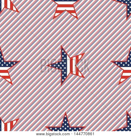 Us Patriotic Stars Seamless Pattern On Red And Blue Stripes Background. American Patriotic Wallpaper