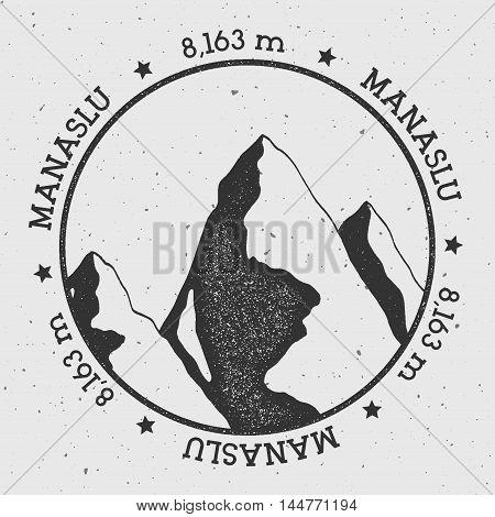 Manaslu In Himalayas, Nepal Outdoor Adventure Logo. Round Stamp Vector Insignia. Climbing, Trekking,