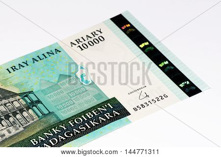 10000 Malagasy ariary bank note of Madagascar. Malagasy ariary is the national currency of Madagascar