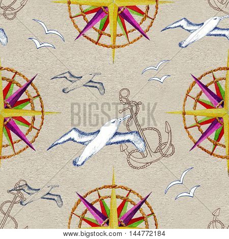 Seamless hand drawn vintage pattern with ship anchor, sea gulls and rose of winds or compass on texture background. Watercolor repeated illustration. Old transportation concept