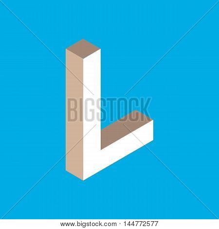 3d isometric letter l. typography for headlines, posters etc.
