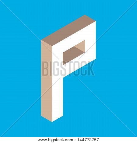 3d isometric letter p. typography for headlines, posters etc.