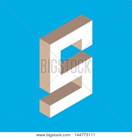 3d isometric letter s. typography for headlines, posters etc.