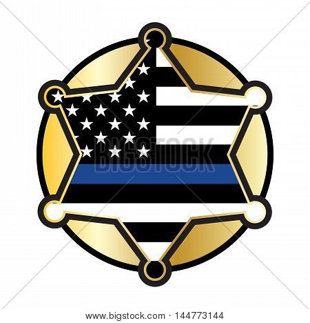 A police and law enforcement star badge emblem illustration. Vector EPS 10 available.