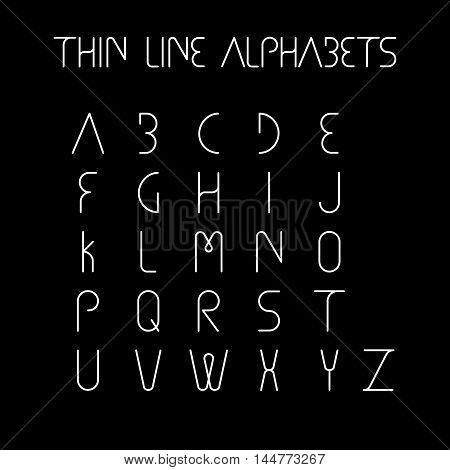 Thin Line And Narrow English Alphabets Or Letters