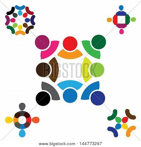 Abstract People Vector Logo Icon Design Collection Set.