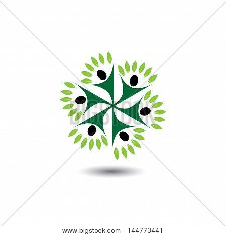 People & Nature Balance Circle - Eco Lifestyle Concept Vector Icon