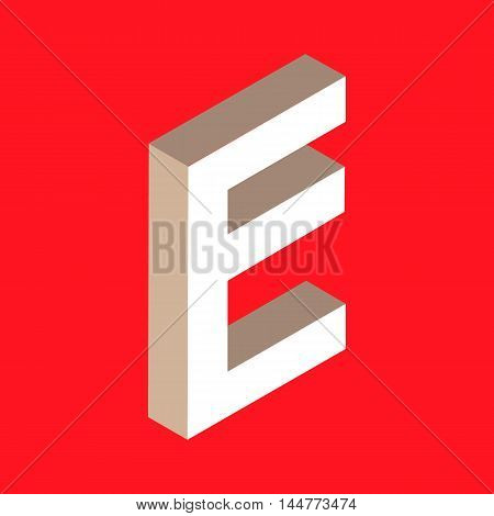 3d isometric letter e. typography for headlines, posters etc.