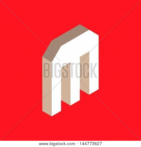 3d isometric letter m. typography for headlines, posters etc.