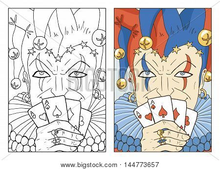 Black and white and colorful Joker. Line art hand drawn vector illustration and sketch. Graphic portrait of Fool in border. Doodle drawing with text. Coloring book page.