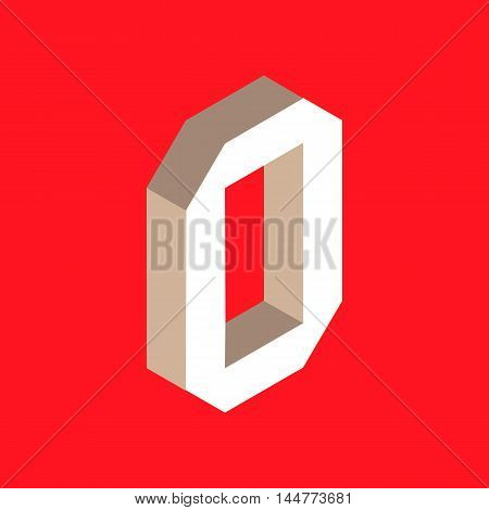 3d isometric letter o. typography for headlines, posters etc.