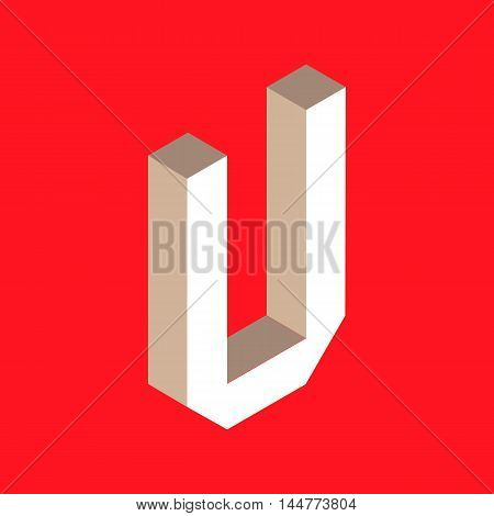 3d isometric letter u. typography for headlines, posters etc.