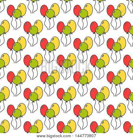 Seamless pattern with color balloons. Festive background. Vector illustration