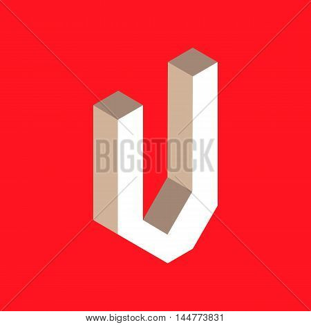 3d isometric letter v. typography for headlines, posters etc.