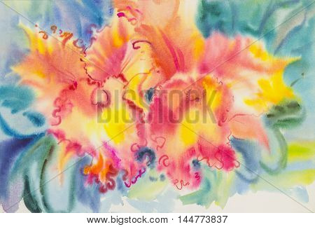 Abstract watercolor original painting red color of orchid flower and green leaves in blue background.