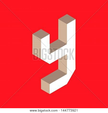 3d isometric letter y. typography for headlines, posters etc.