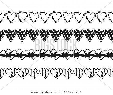 Black and white decorative ornament, pattern, border of hearts. Romantic decor