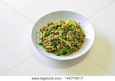 Stir-Fried Pork with basil and Cow-Pea Thai Food