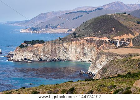 Pacific Ocean Coastline and Bixby Bridge, Big Sur, California, USA. Views from Hurricane Point, south of Bixby Bridge in Big Sur Coast of Central California.