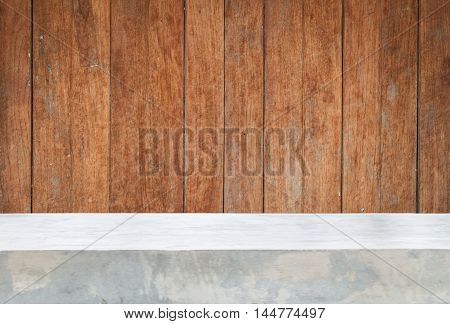 Concrete table top with old wooden background and texture