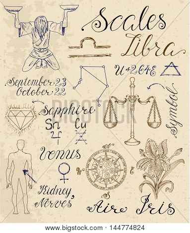 Collection of hand drawn symbols for astrological zodiac sign Scales or Libra. Line art vector illustration of engraved horoscope set. Doodle drawing and sketch with calligraphic lettering