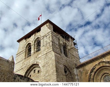 Bell Tower of Church of the Holy Sepulcher in the old city of Jerusalem Israel