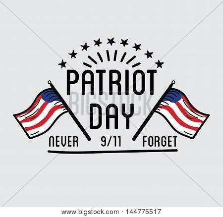 Patriot day vector label or baner. September 11. 911. Vector Illustration.