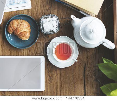 Tea Break Digital Device Connection Technology Concept