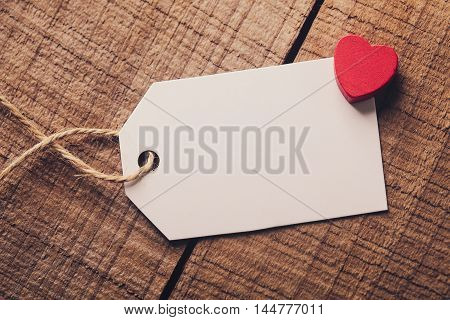 Blank Label With Red Heart Aside