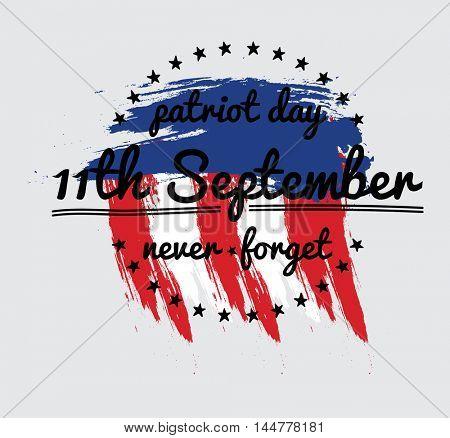 Patriot day vector label or banner. September 11. 911. Vector Illustration.