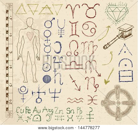 Mystic set with astrology, Zodiac, planet and alchemic symbols. Line art vector illustration of engraved horoscope signs. Doodle mystic drawing and hand drawn sketch with human body and emblems