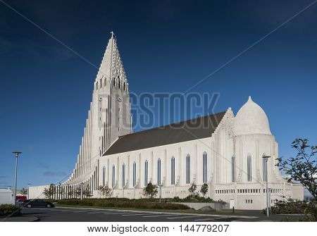 reykjavik city central modern architecture landmark cathedral church in iceland