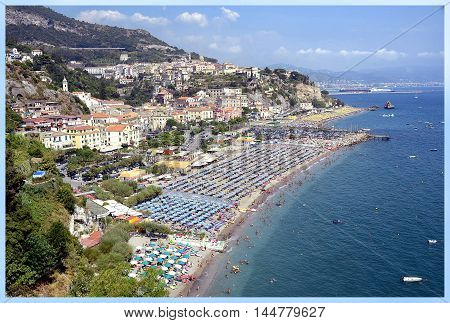 Vietri sul Mare - Salerno, Italy August 2016 - The coastal town of Vietri sul Mare in Italy, in the background the rock of the