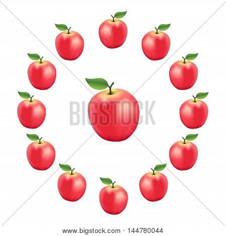 Pink apples in a wheel, fresh, natural, ripe, orchard garden fruit in a circle, isolated on a white background.
