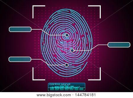 Illustration of  blue Fingerprint Scanning Identification System