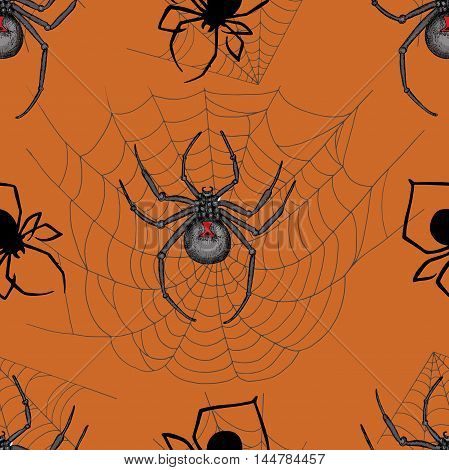 Scary seamless pattern with black widow spiders and cobweb on orange background. Halloween doodle illustration and hand drawn repeated background
