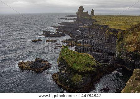 Atlantic Ocean And Black Rock Cliff Of Western Iceland Coast, Snaefellsnes Peninsula, Iceland