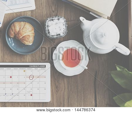 Beverage Breaktime Cafe Brunch Tea Croissant Concept