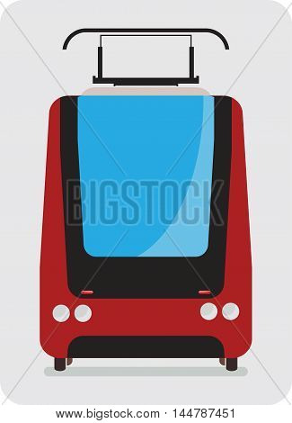 Front View Of Tram Car Or Trolley Car Flat Design