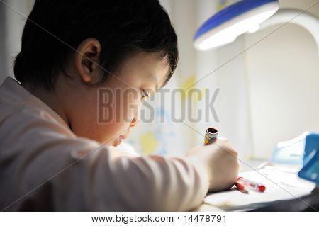 Asiatische Kinder lernen