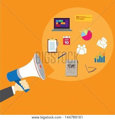pr public relations with megaphone vector illustration