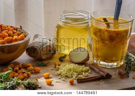 Autumn Cocktail With Sea Buckthorn, Ginger, Honey Strengthens Immune System