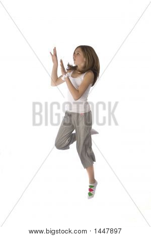 Young Teen Jumping In Air