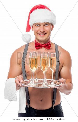 Happy Stripper As A The Waiter With Champagne