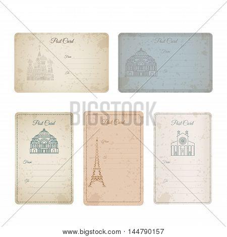 Postcard grunge vintage card collection. Vector illustration