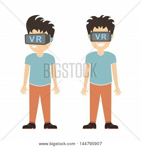 Man in vr set. Smiling teen boy or adult man in vr glasses standing on white background. Augmented reality and cyberspace. Video game or 3D film.