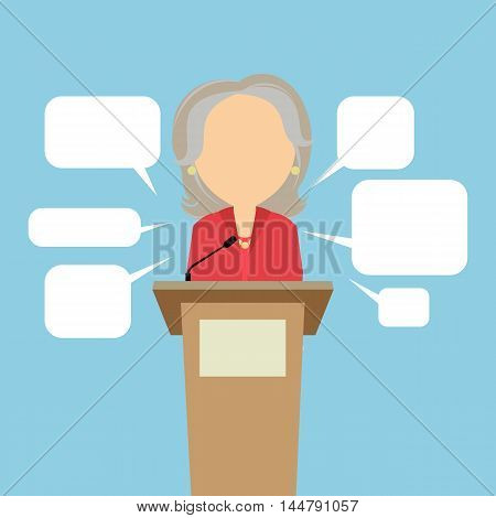 Female speaker with speech bubbles. Concept of debates, seminar or election. Politician speaker with podium.