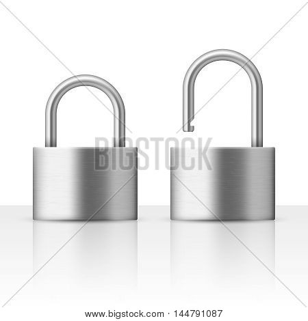 Locked and unlocked padlock vector illustration security concept. Metal lock for safety and privacy