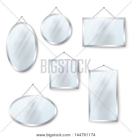 Vector hanging mirrors square round and oval isolated on white background illustration