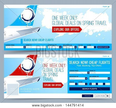 Booking tickets flight Template. Search Flights. Web Banner Header Layout Template. Creative cover.